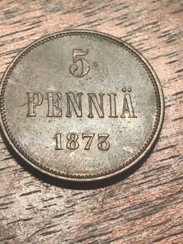 Finland 5 Pennia KM#4.2 1873 Semi-Rare High Grade Copper Coin