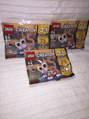 3 CT Lot of LEGO 30574 Creator 3 in 1 Cat, Crab, Ostrich Polybag NEW/SEALED