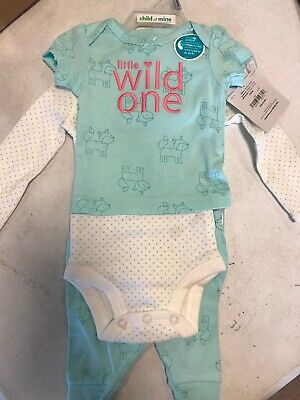 Baby Girls Child of Mine by Carter's Little Wild One Newborn 3 Piece Outfit - Mine Girls