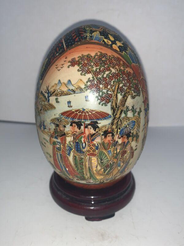 Vintage Satsuma Egg Hand Painted Moriage Porcelain Oriental Geisha Girls Design