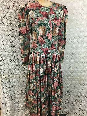 Vintage 80s Tea Dress Garden Party Floral Cotton Drop Waist Gathered 34