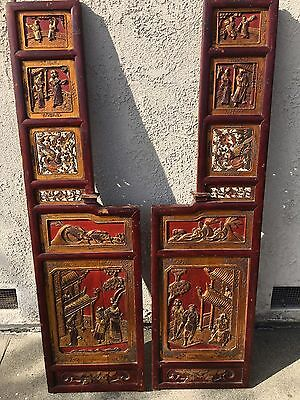 Antique Pair Of Large Chinese Carved Wood Opium Bed Panels