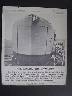 VTG WWII March 2 1943 Tel-Pics War Bonds Poster Tank Landing Ship Launched