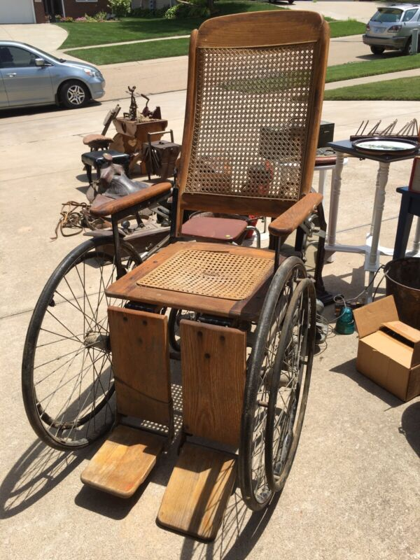 Antique Wooden Wheelchair With Cane Seats By The Colson Corporation
