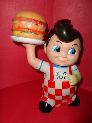 "Big Boy Coin Money Piggy Bank Hard Vinyl Plastic W/Hamburger 8"" with stopper - Big Plastic Piggy Bank"