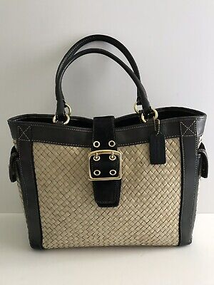 Black Woven Leather (COACH Soho Buckle Woven Natural Straw Black Suede Leather Tote Bag Purse Summer )