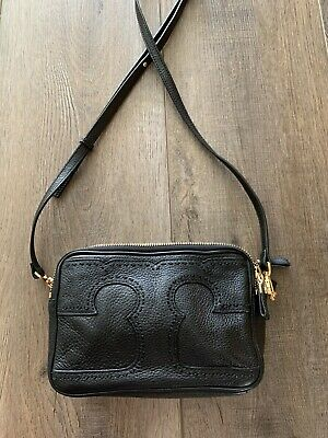 Tory Burch Black Leather T Logo Bag Crossbody Guaranteed Authentic!
