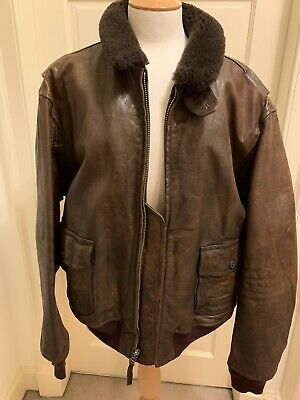 Hardly Used Ralph Lauren Cowhide Aviator Flying Bomber Jacket Fur Collar XXL