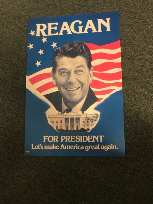 1980 Ronald Reagan President Election Campaign Poster Sign