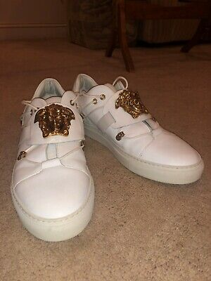 Versace Collection Men's Leather Medusa Logo Low Top white dress shoes