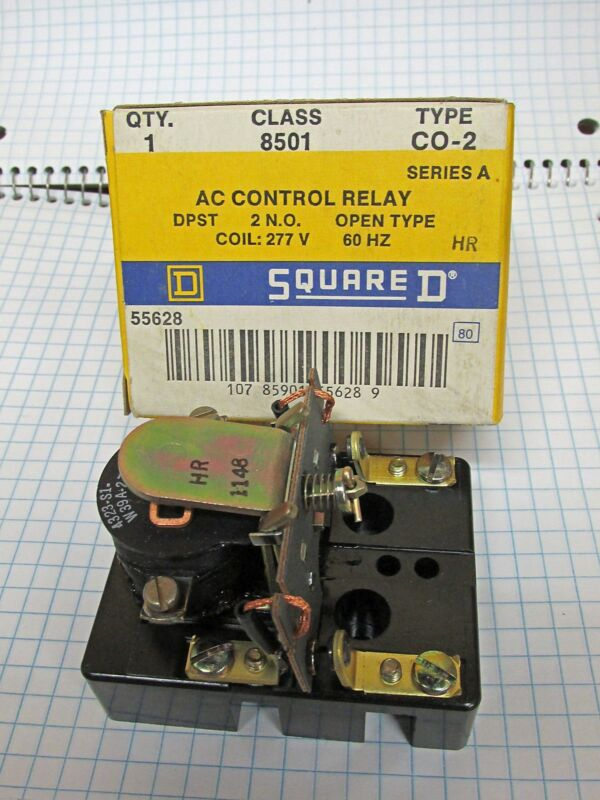 New Square D 8501 Type C0-2 DPST AC Control Relay DPST Open  55628