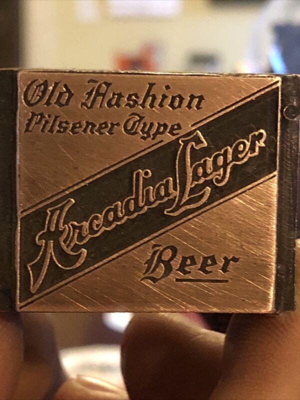 """Vintage Wood & Metal Metal Printing Print Block Stamps, Arcadia Lager"""""""