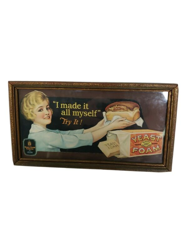 Yeast Foam Tablets Vintage Framed Sign 11 X 6 inch