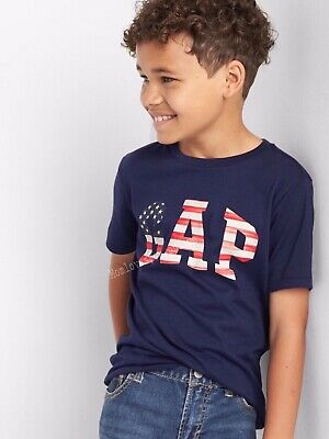 NWT BABY GAP BOYS T-SHIRT TOP LOGO navy 4th July flag  USA    u pick size ()