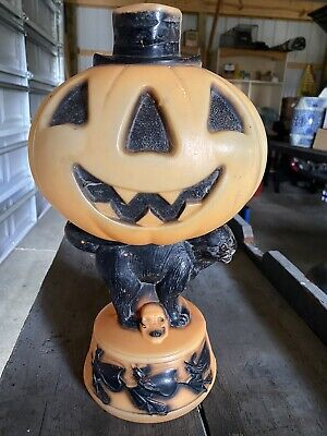 14 Inch Empire Pumpkin Head with Black Cat Lighted Blow Mold with Light Cord