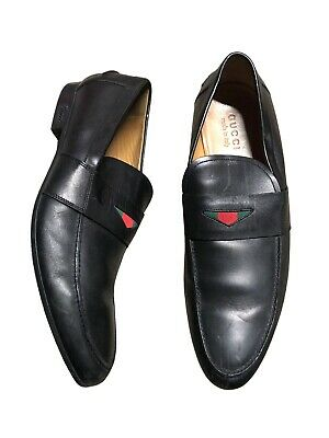 Vintage Gucci Penny Loafers / Black Leather Slip On Shoes Made in Italy / 10.5