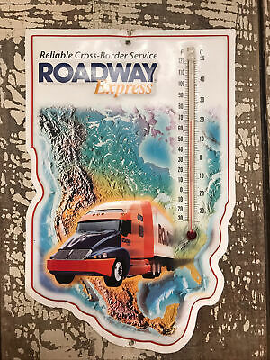 RARE Collectible ROADWAY Express EMBOSSED Tin METAL Sign w/ THERMOMETER Vintage