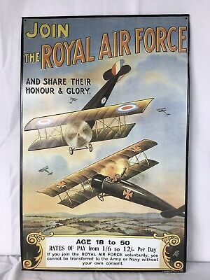 Used, Join the Royal Air Force METAL SIGN   AAA Sign Co.British German Airplane  for sale  Indian Trail