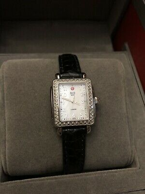 Michele Woman's Deco Signature Diamond Face Stainless Steel Watch Signature Deco Diamond