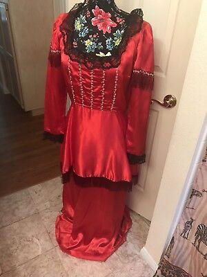 Edwardianisch/Viktorianisch/Paris1700s/1800s Seide Satin ,Rot/Blk ,Ret. - 1800 Kleid Kostüm