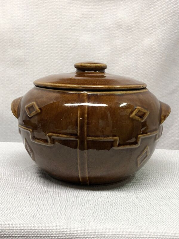 VINTAGE MONMOUTH POTTERY CERAMIC BEAN POT COOKIE JAR WESTERN BROWN USA