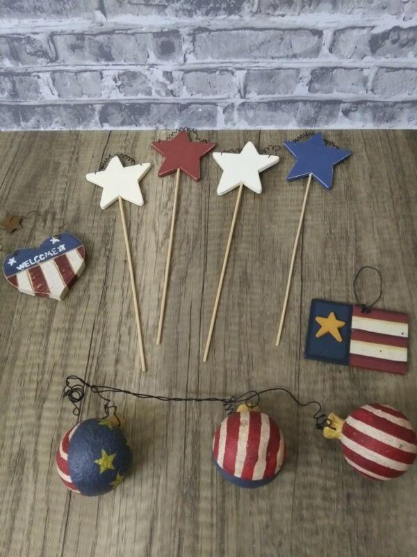 Patriotic 4th of July Plant Stakes, Ornaments, Home Decor Americana Farmhouse