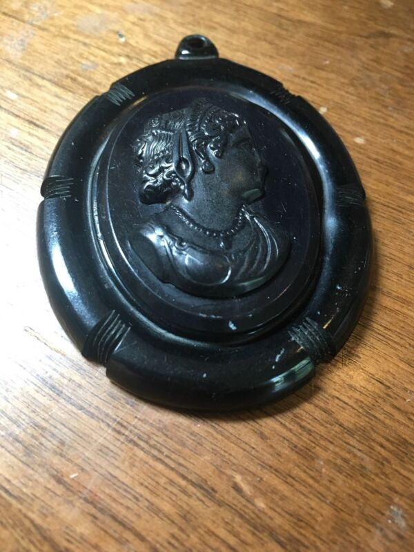 Possible Bakelite Large Black Mourning Piece Cameo