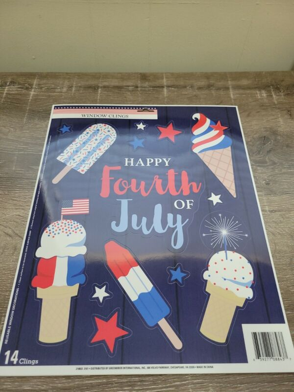 (2) Window Clings,  Happy Fourth of July, Ice Cream, Patriotic