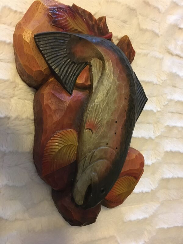 Rainbow Trout Fish Wood Wall Art Home Decor Plaque Lodge Brown