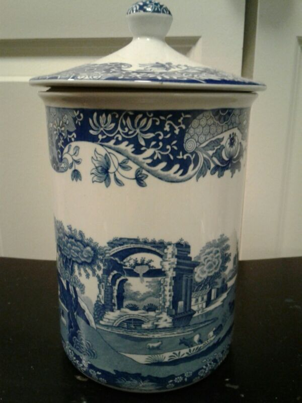 """Spode Blue and White Canister Biscuit Jar """"Italian"""" 8"""" × 5"""" EUC"""