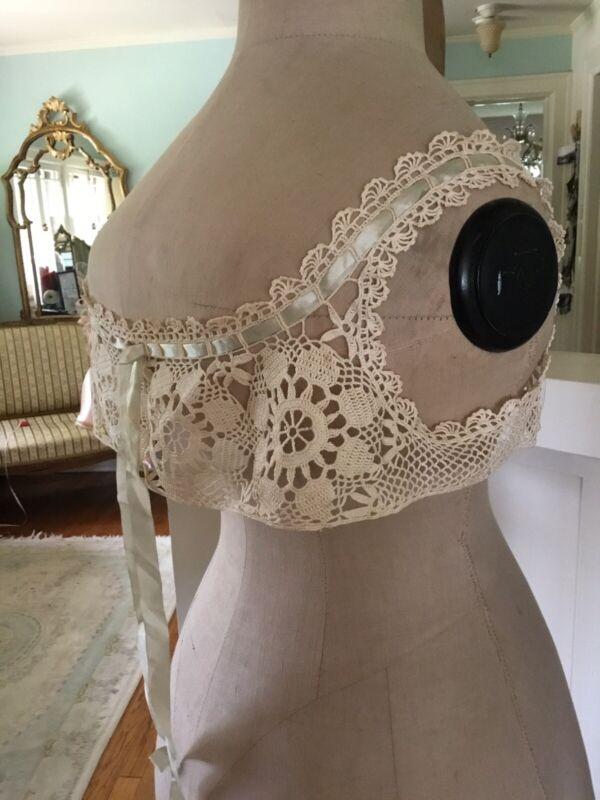 Antique Victorian Crochet Camisole Corset Cover Pale Silk Ribbon Film Museum