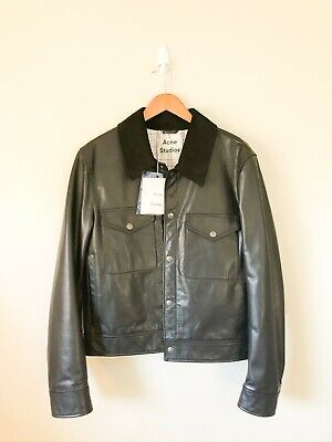Acne Studios Mens Leather Jacket with Suede Collar Size 48