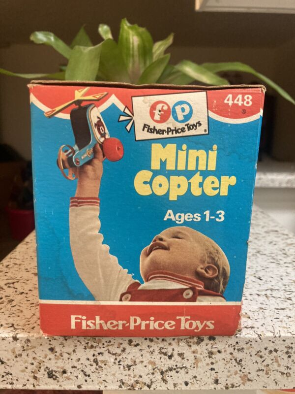 Vintage 1970 Fisher Price Mini Copter #448 Pull Toy in Original Box