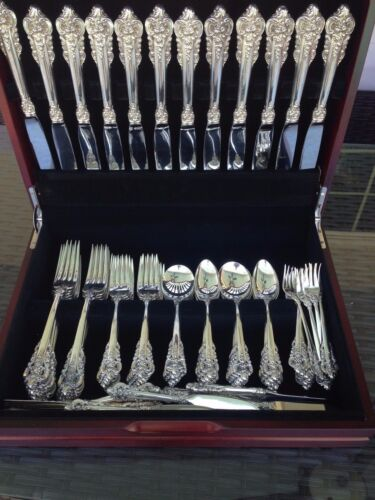 COMPLETE 60 PC OLD HEAVY SET WALLACE GRANDE BAROQUE STERLING FLATWARE SETTING