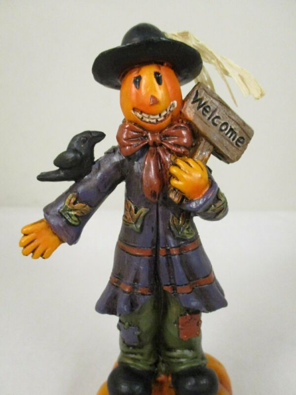 "Halloween Pumpkin Head Scarecrow Welcome Figurine Resin 5.5"" Fall Autumn"