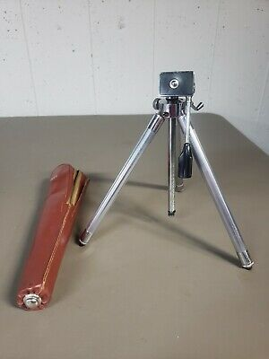 Vintage Sunset Stainless Steel Camera Tripod Stand w/ Leather Case
