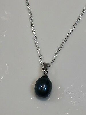 Genuine Single Natural Black Tahitian Pearl Necklace Pendant White Gold O/925 ()