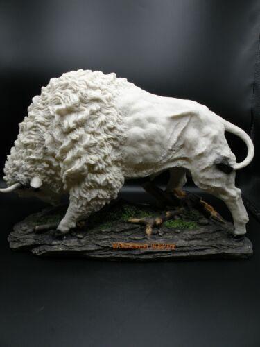 "Large Plains Charging White Buffalo Statue Sculpture 19"" Long"