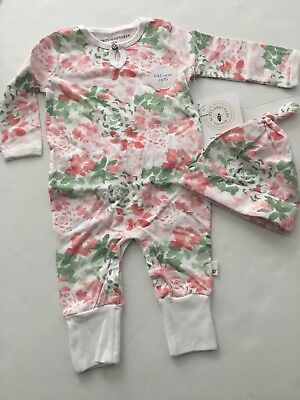 Burts Bees Organic Baby Girl Coverall Hat Set Size 6 9 12 18 24 Months Floral