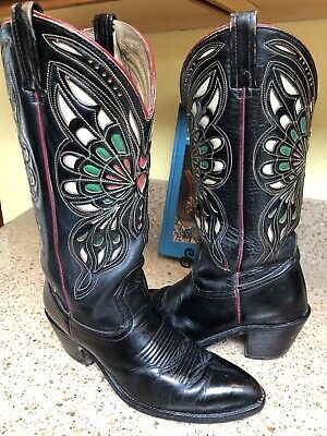 RARE ACME Black Leather Inlay Butterfly Rockabilly Cowboy Boots Sz 10 W, 8.5D M