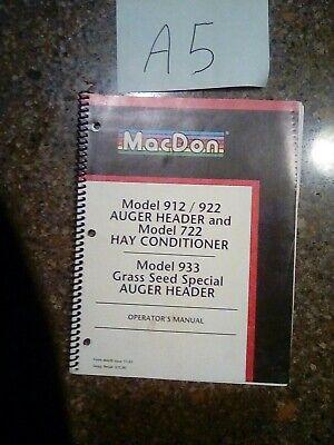 Macdon 912 922 Auger Header 722 Hay Conditioner Operators Manual Nos