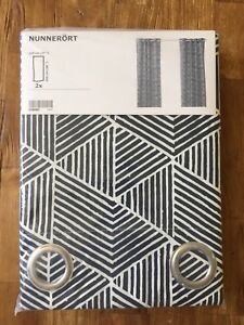 Navy and White IKEA Nunnerort Curtains (2 Panels) BRAND NEW