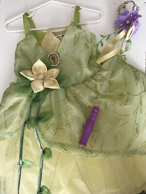 Disney Parks Authentic TIANA Princess Frog Costume Dress Size XXS 2/3 and Wand