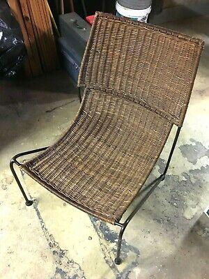 Frederick Weinberg Mid Century Modern Iron And Wicker Scoop Chair