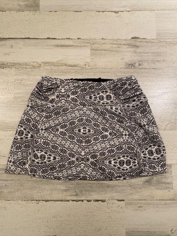 Athleta Women's Black & White Skort Skirt Sz XS Adjustable Elastic Waist EUC