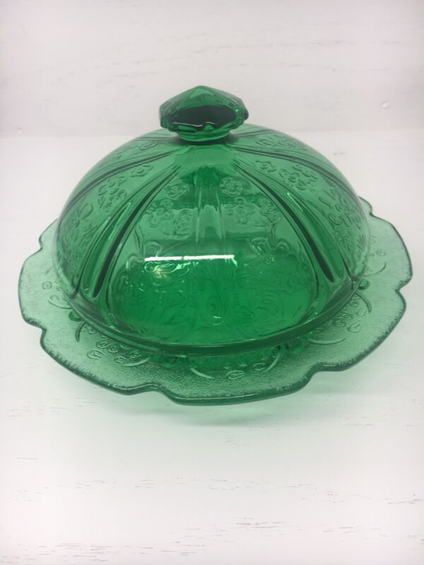 Jeanette? Cherry Blossom Reproduction Covered Butter Dish Emerald Green Gorgeous