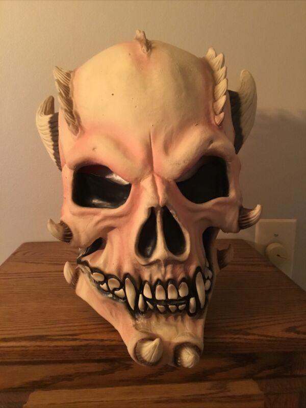 Vintage Horned Skull Demon Mask Latex Horror Prop Overhead Halloween Mask Scary