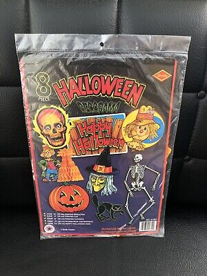 NEW Vintage Beistle Halloween Decorama 8 Party Decorations Honeycomb Cutouts NOS