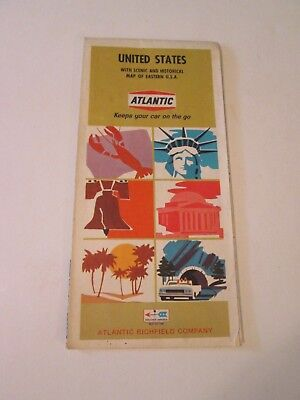 Vintage 1968 Atlantic Western United States Oil Gas Station Travel Road Map