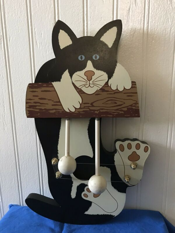 Vintage Wooden CAT DOOR CHIME HARP BELL Door Cat Hanger